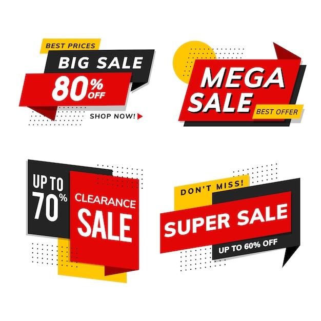 Shop-verkaufsförderungs-anzeigenvektorsatz Kostenlosen Vektoren