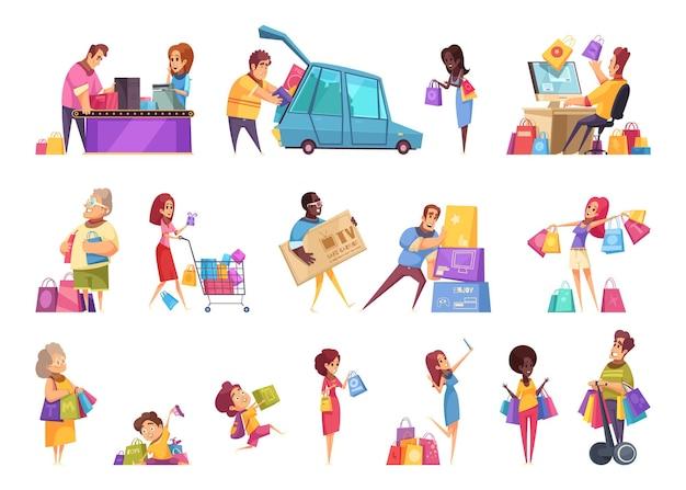 Shopaholic-ikonensammlung des einkaufens lokalisierte karikaturartbilder und menschliche charaktere von leuten mit waren Kostenlosen Vektoren
