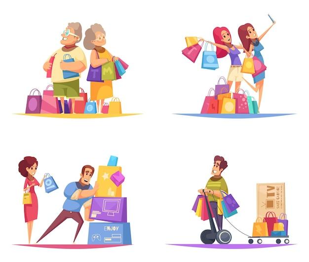 Shopaholic-konzept mit zusammensetzungen von menschlichen charakteren der bunten karikaturart mit waren in den bunten kästen Kostenlosen Vektoren