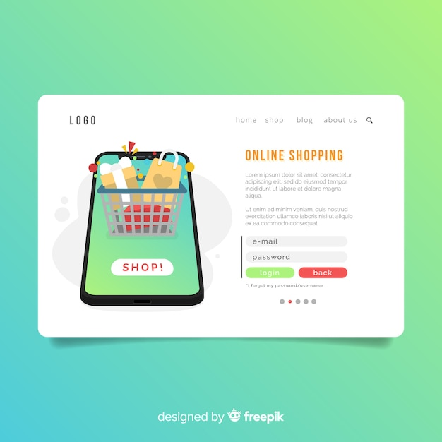 Shopping Landing Page Vorlage