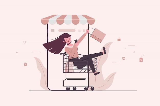 Shopping online-shop-konzept mit kunden im schubkarren. online-verkaufsförderungskonzept. Premium Vektoren