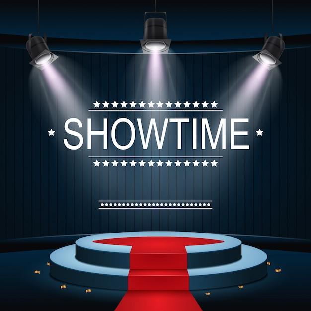 Showtime-banner mit podium und rotem teppich, beleuchtet von scheinwerfern Premium Vektoren