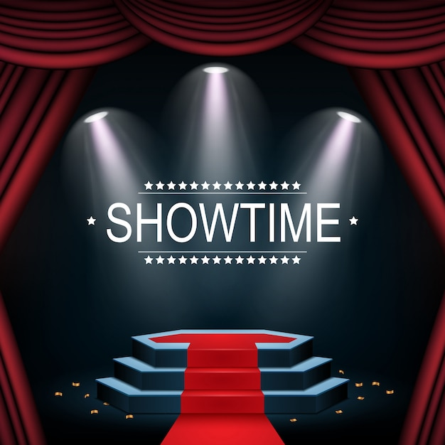 Showtime-banner mit podium und vorhang von scheinwerfern beleuchtet Premium Vektoren