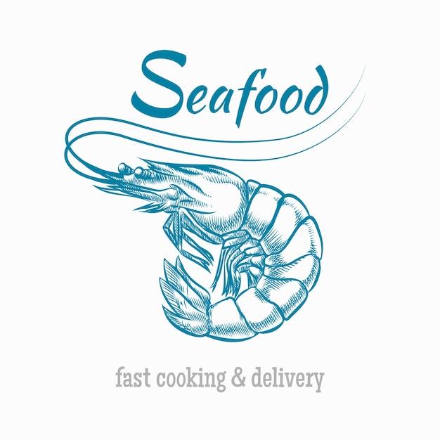 Shrimp seafood logo. Kostenlosen Vektoren