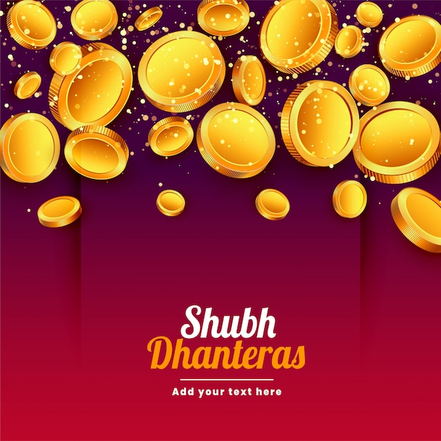 Shubh dhanteras fallende goldene münzenfestivalkarte Kostenlosen Vektoren