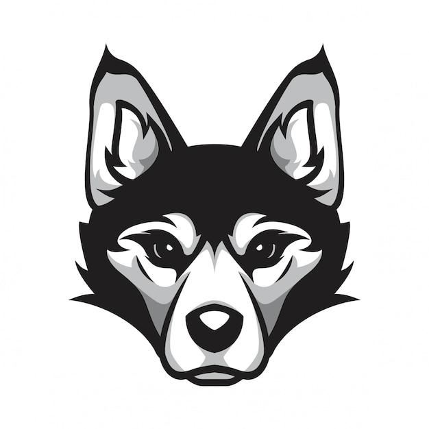 Siberian husky-kopfhund Premium Vektoren