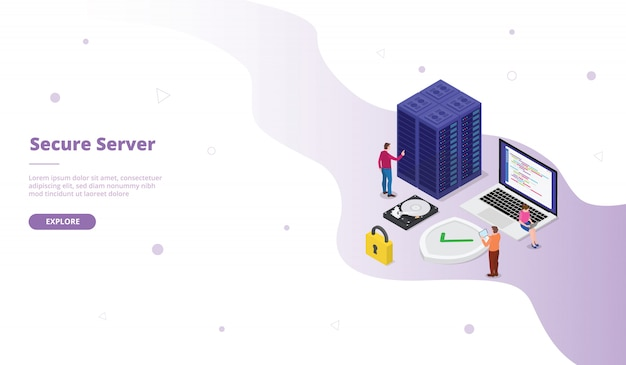 Sichere serverkampagne für die startseite der webseitenvorlage mit isometrischem, flachem design Premium Vektoren