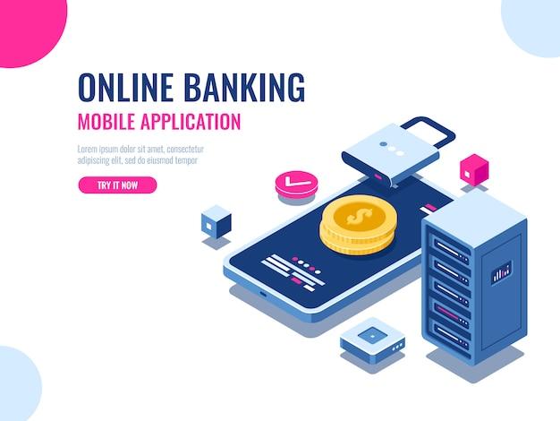 Sicherheit des geldes im internet, geschützte transaktionszahlung, mobile bank für online-bank Kostenlosen Vektoren