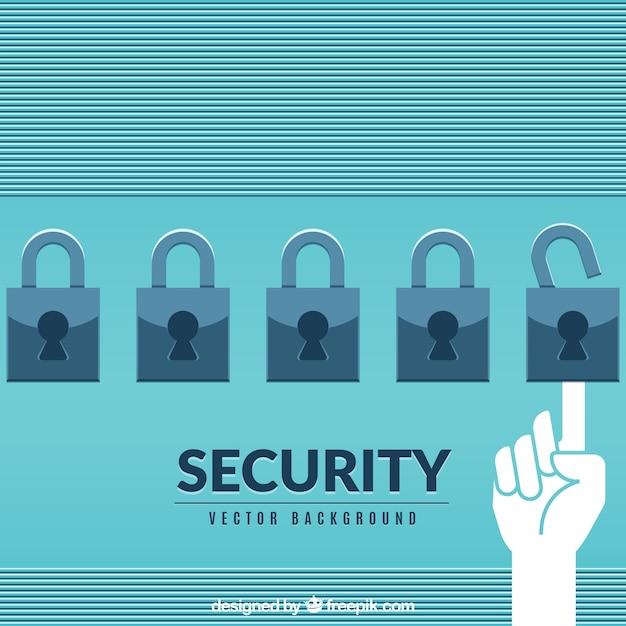 Sicherheit hintergrund mit vorhängeschlössern in flachen design Kostenlosen Vektoren
