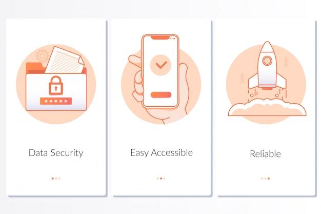 Sicherheit, schneller und einfacher start, zuverlässige serviceschritte, grafische anweisungen Premium Vektoren