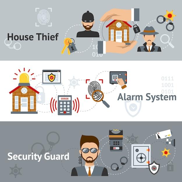 Sicherheits-banner-set Kostenlosen Vektoren