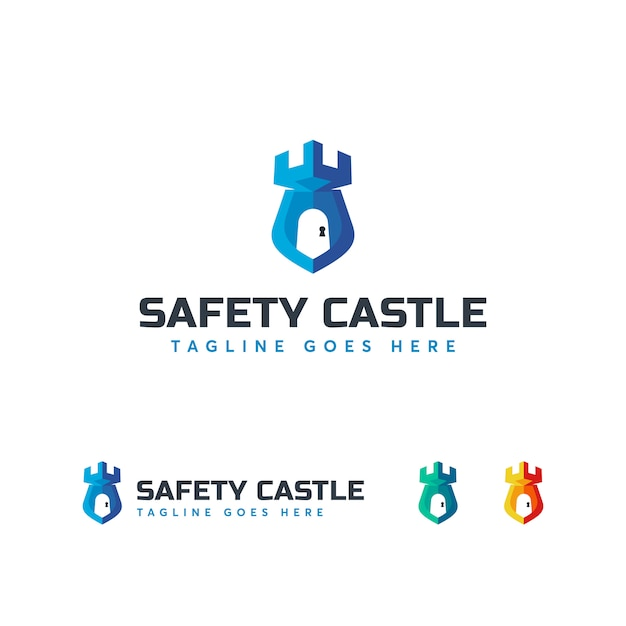 Sicherheits-schloss-logo-vorlage Premium Vektoren