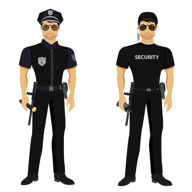 Sicherheits- und polizeiwächter isoliert. Premium Vektoren