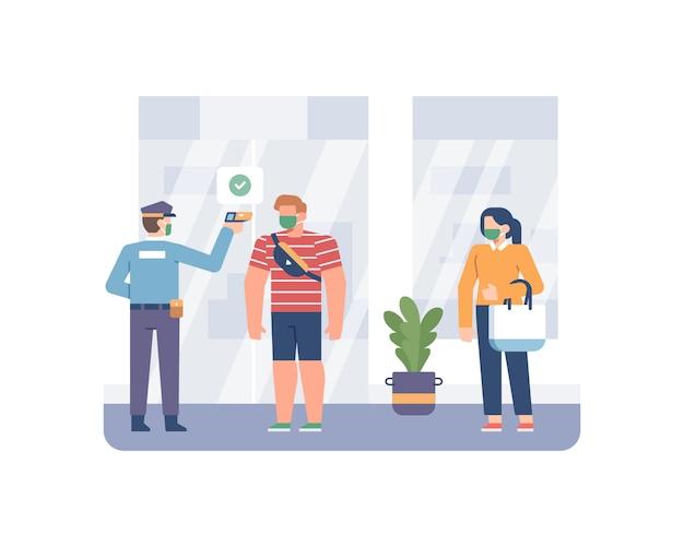 Sicherheitsbeauftragter die körpertemperatur des kunden mit einer thermometerpistole vor dem betreten und einkaufen in der ladenillustration Premium Vektoren