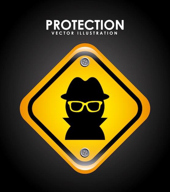 Sicherheitsdesign über schwarzer hintergrundvektorillustration Premium Vektoren
