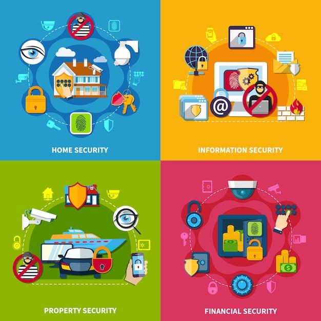 Sicherheitskonzept icons set Kostenlosen Vektoren