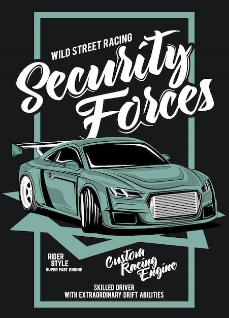 Sicherheitskräfte, illustration eines klassischen rennwagens Premium Vektoren
