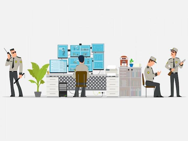 Sicherheitsraum, in dem berufstätige arbeiten. überwachungskameras. cctv- oder überwachungssystemkonzept. Premium Vektoren
