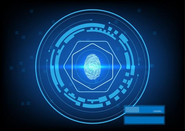Sicherheitsschnittstelle mit fingerabdruck Premium Vektoren