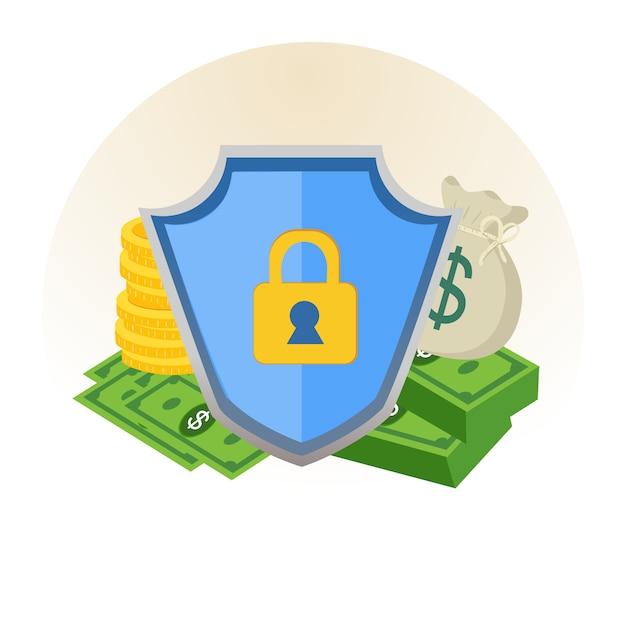 Sicherheitsschutz des geldes mit schildzeichen. Premium Vektoren