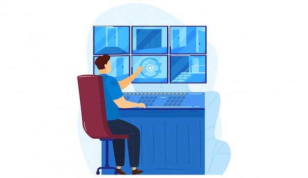 Sicherheitsüberwachungszentrum videokamera-konzeptraum, polizist service worker sehen stadt sicherheit isoliert auf weiß, cartoon-illustration. Premium Vektoren