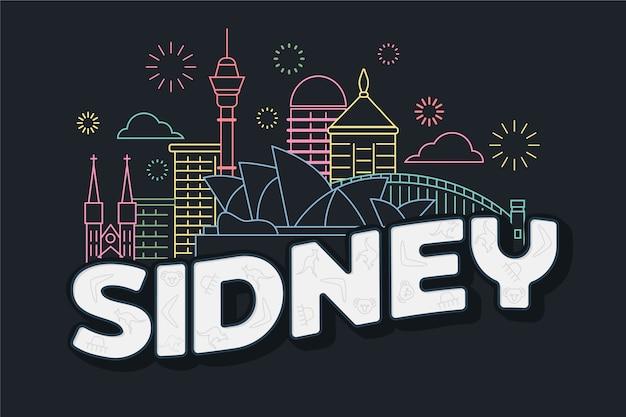 Sidney city schriftzug Kostenlosen Vektoren