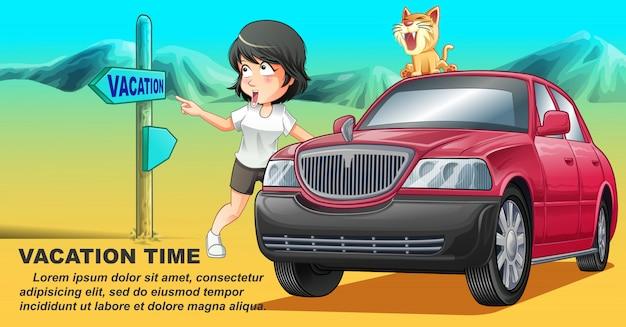 Sie reist mit ihrer katze in der urlaubszeit mit dem rosa auto. Premium Vektoren