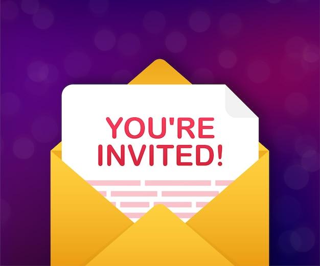 Sie sind eingeladen, einladungskarte inside an envelope letter Premium Vektoren