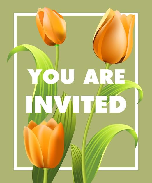 Sie sind eingeladen, mit orange tulpen auf grauem hintergrund zu beschriften. Kostenlosen Vektoren