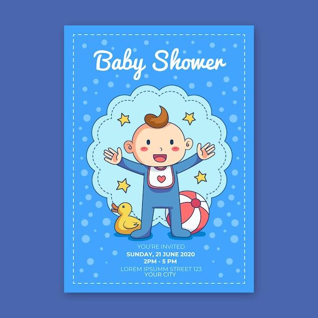 Sie sind zur babyparty für jungen mit gummiente eingeladen Premium Vektoren