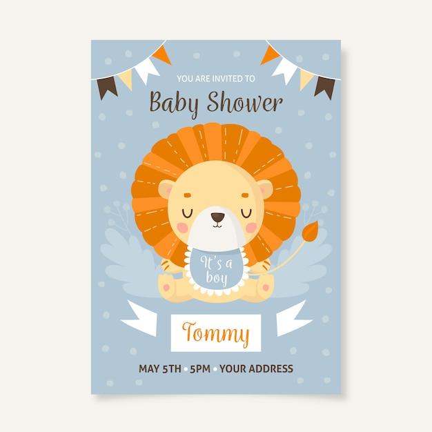 Sie sind zur babyparty für jungen mit löwen eingeladen Premium Vektoren