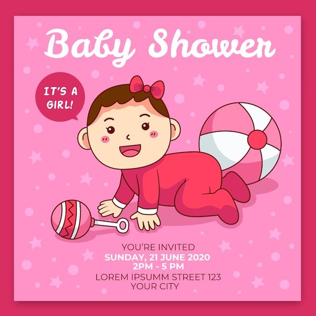 Sie sind zur babyparty für mädchen in rosatönen eingeladen Kostenlosen Vektoren