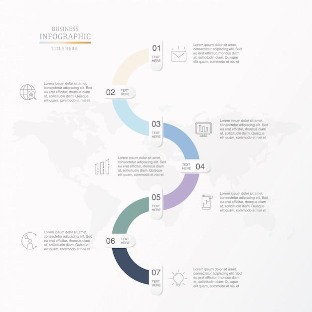 Sieben schritte für business-infografik. Premium Vektoren