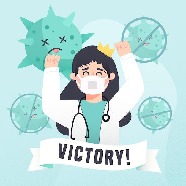 Sieg über das coronavirus-konzept Kostenlosen Vektoren