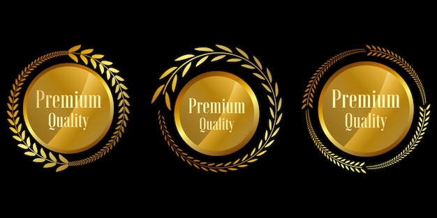 Siegel goldene abzeichen und etiketten premium-qualität Premium Vektoren