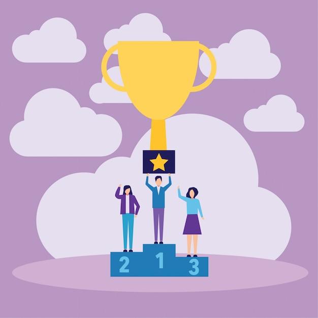 Sieger-podium-leute, die gewinnende trophäe halten Premium Vektoren