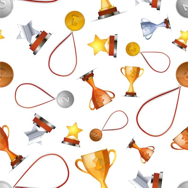 Siegerpreise mit medaillen, schalen und sternen auf weißem, nahtlosem muster Premium Vektoren