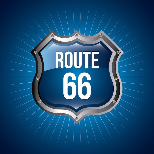 Signal der route 66 über blauer hintergrundvektorillustration Premium Vektoren