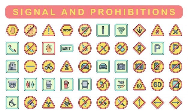Signal und verbote, linearer farbstil Premium Vektoren