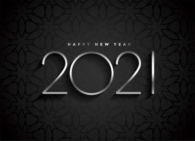 Silber 2021 neujahrstext auf schwarzem hintergrund Kostenlosen Vektoren