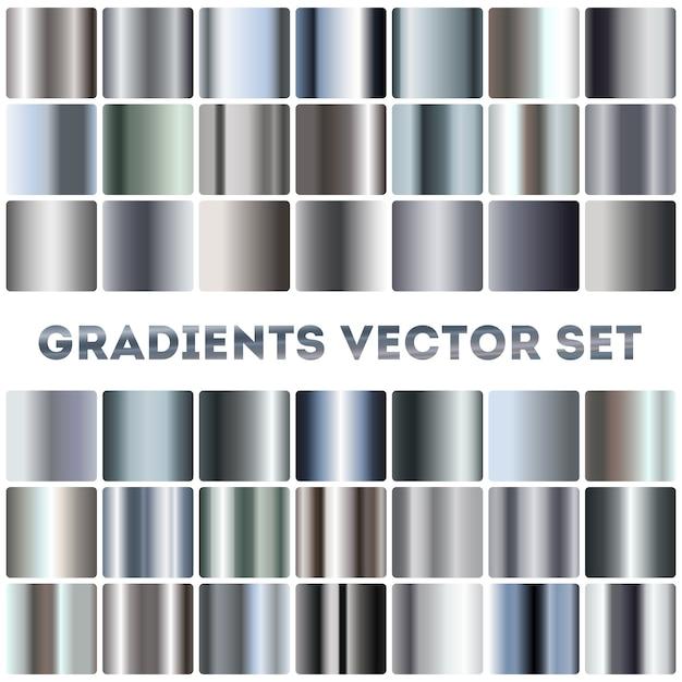 Silber, stahl, chrom farbverläufe eingestellt Premium Vektoren