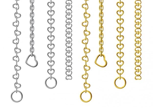 Silber- und goldmetallketten Kostenlosen Vektoren