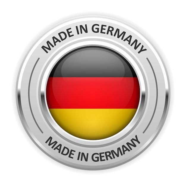 Silbermedaille made in germany mit flagge Premium Vektoren