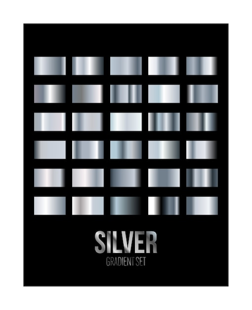 Silbermetall-farbverlaufs-textur-farbfeldset isoliert auf schwarz Premium Vektoren