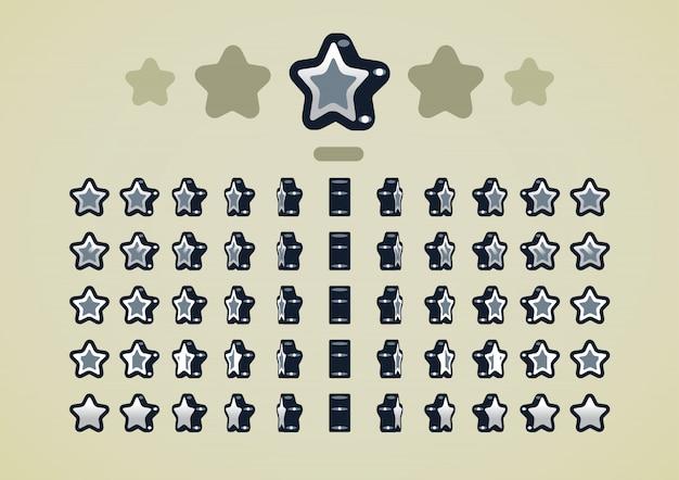 Silberne animierte sterne für videospiele Premium Vektoren
