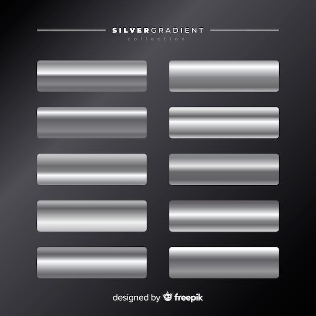Silberne farbverlaufssammlung Kostenlosen Vektoren