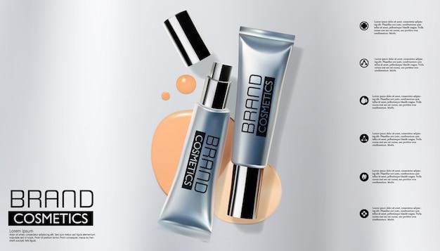 Silberne kosmetische flasche auf silber, verpackungsschablone, realistisches design, vektorillustration Premium Vektoren