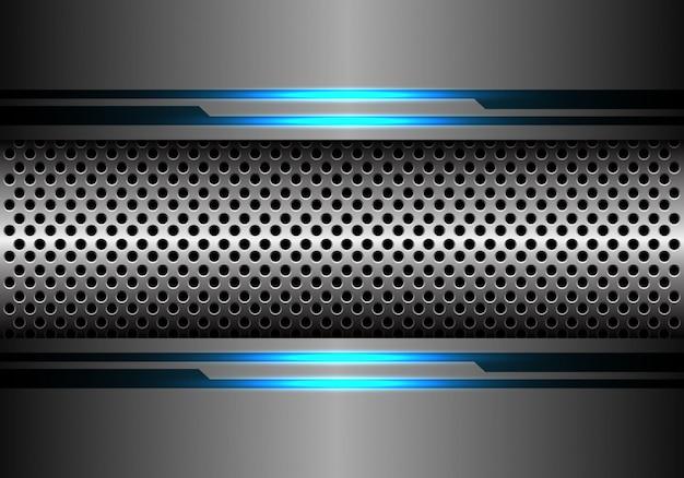 Silberne kreismasche im grauen energielichthintergrund des blauen blaus. Premium Vektoren
