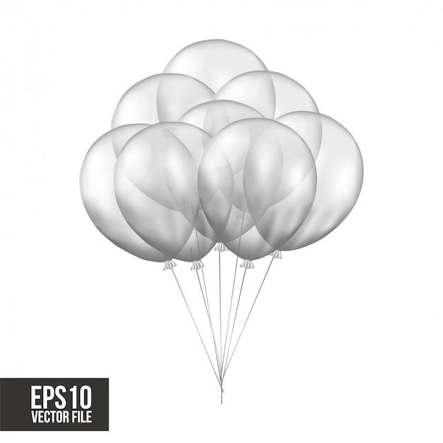 Silberne transparente ballone des fliegens 3d Premium Vektoren