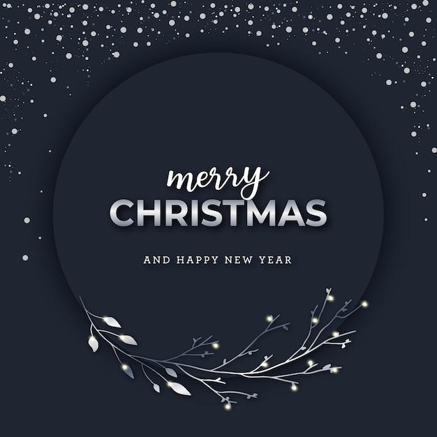 Silberne weihnachtsfahne auf dunklem schneebedecktem hintergrund Premium Vektoren